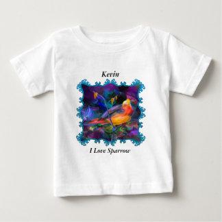 美しい虹のカラフルのすずめ ベビーTシャツ