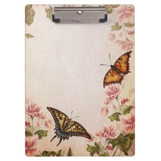 美しい蝶及びヴィンテージの花 クリップボード