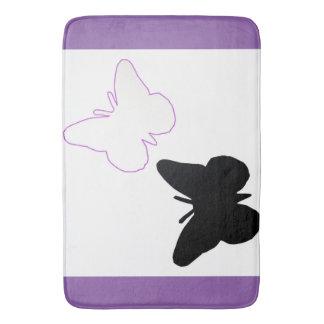 美しい蝶紫色および白いバス・マット バスマット