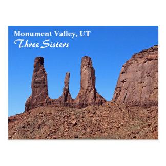 美しい記念碑の谷、3人の姉妹の郵便はがき! ポストカード