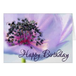 美しい誕生日の花のクローズアップのパステル調のスケッチ カード