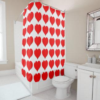 美しい赤いハートのシャワー・カーテン シャワーカーテン