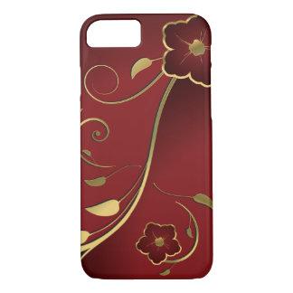 美しい赤及び金ゴールドの花柄のファインアート iPhone 8/7ケース