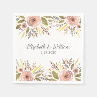 美しい赤面のばら色の水彩画の花の結婚式 スタンダードカクテルナプキン