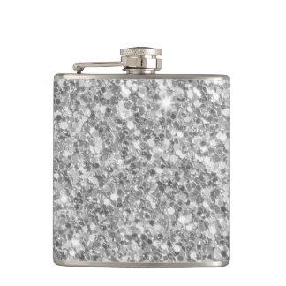美しい輝きの銀製灰色のグリッターパターン フラスク