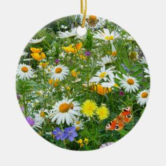美しい野生の花および蝶草原 セラミックオーナメント
