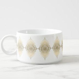 美しい金ゴールドのペイズリーのレースの幾何学的なオーナメント チリボウル