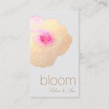 美しい金ゴールドの花の水彩画のサロンのスパ 名刺