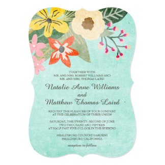 美しい開花の結婚式招待状/水 カード