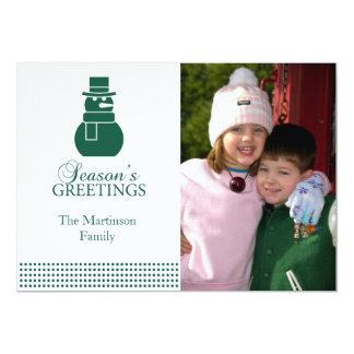 美しい雪だるまのクリスマスカード(常緑樹) カード