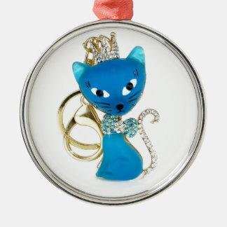 美しい青猫のデザイン メタルオーナメント