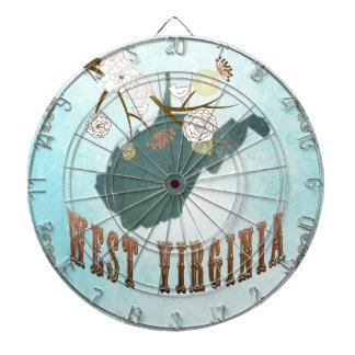 美しい鳥が付いているウェストヴァージニアの地図 ダーツボード