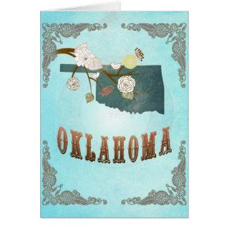 美しい鳥が付いているオクラホマの地図 カード
