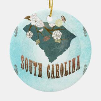 美しい鳥が付いているサウスカロライナの地図 セラミックオーナメント