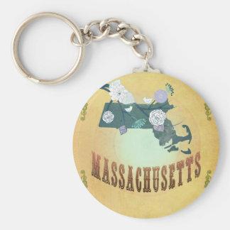 美しい鳥が付いているマサチューセッツ地図 キーホルダー