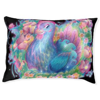 美しい鶏および花 ペットベッド