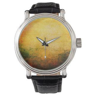 美しい黄色の抽象芸術の都市グランジでクールな腕時計 腕時計