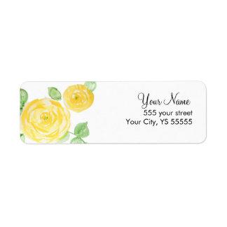 美しい黄色バラの花の水彩画のデザイン 返信用宛名ラベル