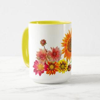 美しい15ozコンボのマグの黄色のリングや輪及びハンドルの流れ マグカップ