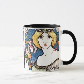 美しい1896年のアールヌーボーのデザインのマグ マグカップ