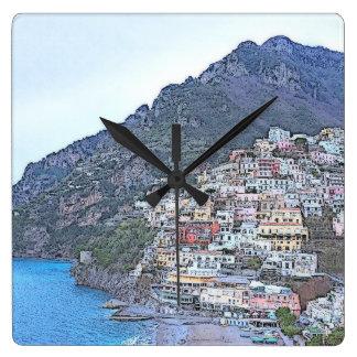 美しいCinque Terre、イタリア スクエア壁時計