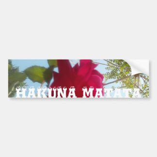 美しいHakuna Matataの赤いバラの青空 バンパーステッカー