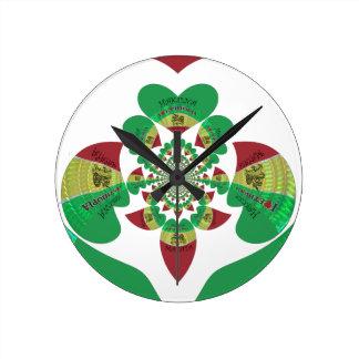 美しいHakuna Matata I愛エチオピアのハート色 ラウンド壁時計