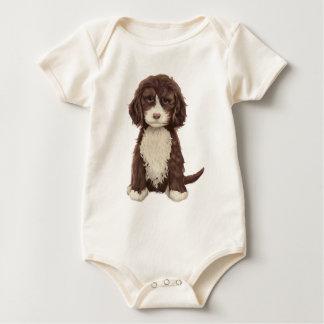 美しいLabradoodle愛犬の足の絵画のプリント ベビーボディスーツ