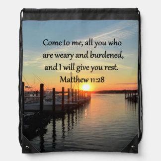 美しいMATTHEWの11:28の日没の聖なる書物、経典 ナップサック
