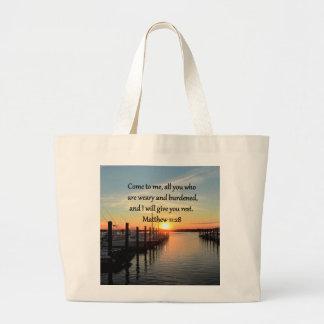 美しいMATTHEWの11:28の日没の聖なる書物、経典 ラージトートバッグ