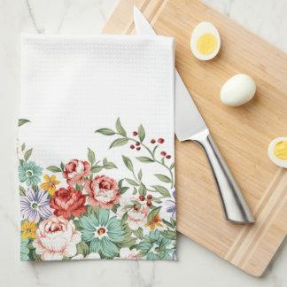 美しくエレガントなヴィンテージの春の花花束 お手拭タオル