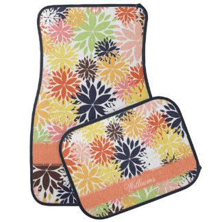 美しくガーリーで粋な花の絵パターン カーマット