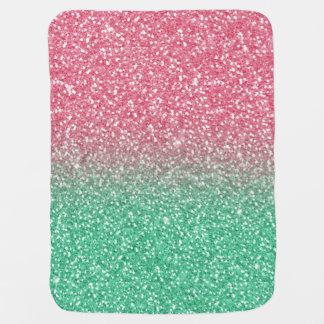 美しくガーリーなピンクの緑の模造のなグリッターの効果 ベビー ブランケット