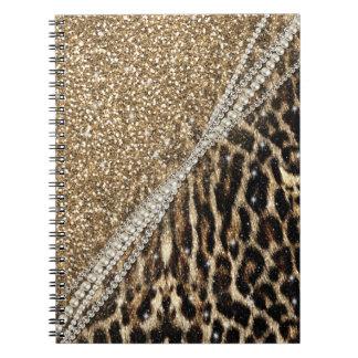 美しくシックでガーリーなヒョウの動物の模造のな毛皮のプリント ノートブック