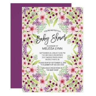 美しくモダンな花の女の子のベビーシャワーの招待 カード