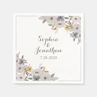 美しくロマンチックなアネモネの花の結婚式 スタンダードカクテルナプキン