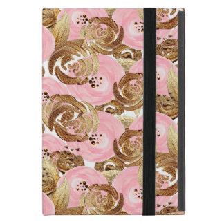 美しくロマンチックなピンクおよび金ゴールドの花模様 iPad MINI ケース