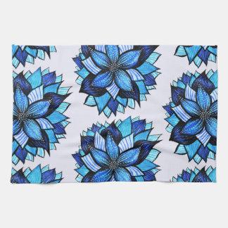 美しく抽象的で青い花インクスケッチパターン キッチンタオル