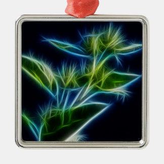 美しく抽象的なティール(緑がかった色)のライムグリーンの花の芸術 メタルオーナメント