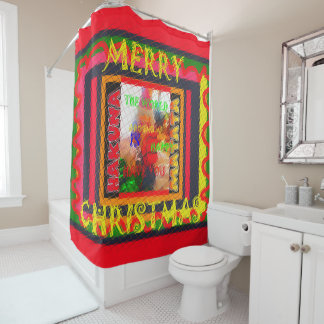 美しく明るいメリークリスマスの精神世界 シャワーカーテン