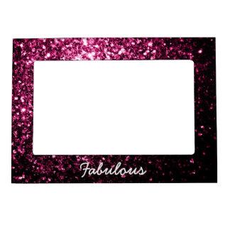 美しく暗いピンクのグリッターの輝きを個人化して下さい マグネットフレーム