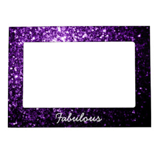 美しく暗い紫色のグリッターの輝きを個人化して下さい マグネットフレーム