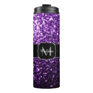 美しく暗い紫色のグリッターはモノグラム光っています タンブラー