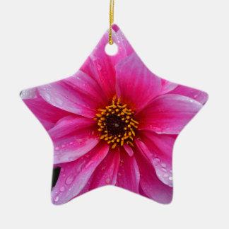 美しく独身のなピンクのダリアの花 セラミックオーナメント