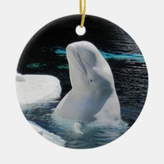 美しく白いシロイルカのクジラの休日 セラミックオーナメント