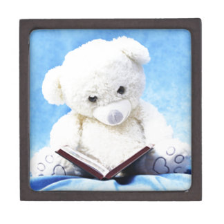 美しく白いテディー・ベアの読書の本 ギフトボックス