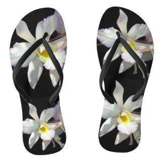 美しく白い蘭の熱帯花の空想 ビーチサンダル