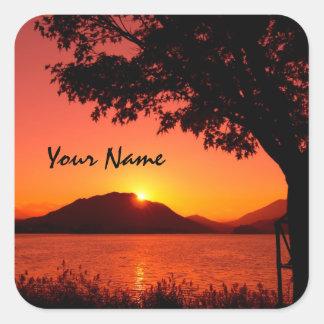 美しく穏やかなオレンジsunset湖山 スクエアシール