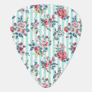 美しく粋でガーリーなヴィンテージの青い縞のバラ ギターピック