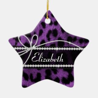 美しく粋で模造のな紫色のヒョウのアニマルプリント セラミックオーナメント